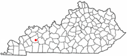 Location of Mortons Gap, Kentucky