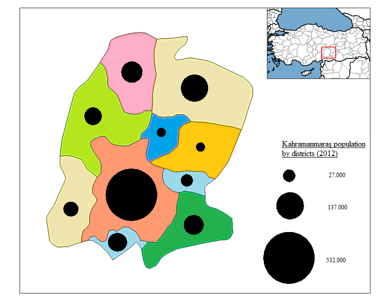 Kahramanmaras proportional circle map population 2012