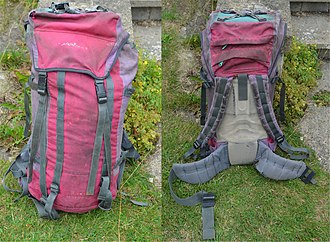Karrimor - 65-litre Karrimor 'Alpiniste' backpack from the early 1990s, featuring KS-100e fabric, twin compression straps and ice-axe loops, crampon straps on lid and Aergo M back design