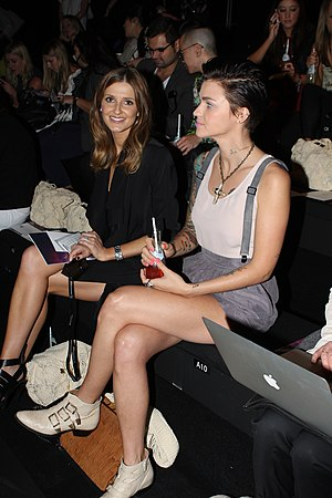 Australian Fashion Week - Kate Waterhouse (left), daughter of Gai Waterhouse, and Ruby Rose (right) seated at the 2012 show