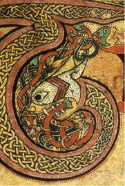 "Detail of decorated initial ""T"" with ribbon interlace filling and interlaced animal motif, Book of Kells, c. 800"