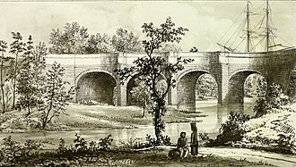 Kelvin Aqueduct - An etching by James Hopkirk of a sailboat crossing the aqueduct