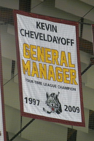 Kevin Cheveldayoff - The Chicago Wolves banner honoring Cheveldayoff
