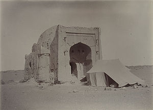 Khara-Khoto - Image from Aurel Stein's visit. A tomb (possibly a mosque) at southeast corner, viewed from east.