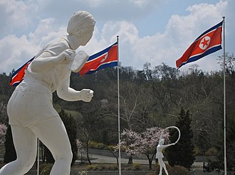 Sport in North Korea - Statue of a table tennis player at Kim Il-sung Stadium