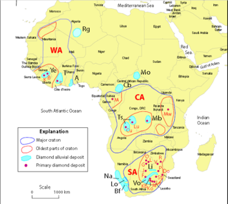 Kimberlite - Distribution of diamond deposits. Cratons: CA-Central African (Kasai), South African (Kalahari), WA-West African, Alluvials and Bodies: A-Akwatia/Birim, B-Banankoro, Bf-Buffels River, Cb-Carnot/Berberati, Cu-Cuango Valley, Do-Dokolwayo body, F-Finsch body, G-Gope body, J-Kwaneng body, Ja-Jagersfontein body, k-Koidu body, Kb-Kimberley bodies, Ko-Koffiefontein body, L-Letlhakanebody, Le-Letseng body, Li-Lichtenburg, Lo-Lower Orange River, Lu-Lunda bodies, M-Mitzic bodies, Mb-Mbuji-Mayi bodies, Mo-Mouka Ouadda, Mw-Mwadui body, Na-Namibia and Namaqualand, O-Orapa body, P-Primier body, R-River Ranch body, T-Tortiya, Ts-Tshkipa, V-Venetia body, Vo-Vaal/Orange Rivers, Ye-Yengema