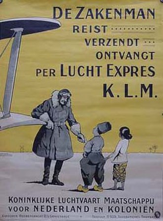 KLM - KLM poster featuring the airline's first commercial slogan. It is likely dated around the late 1920s, after it started service to Batavia