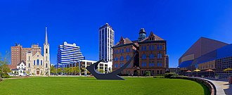 Peoria, Illinois - View of Peoria Civic Center, Peoria City Hall, and Peoria's Twin Towers