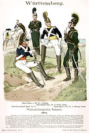 Print of cavalrymen in blue coats and white breeches, and in green jackets and breeches