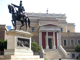 Old Parliament House, Athens - Bronze statue of Theodoros Kolokotronis, by Lazaros Sochos, in front of the Parliament House