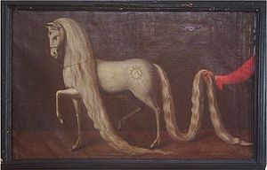 Oldenburg horse - The Oldenburg stallion Kranich was bred by Anton Günther in around 1640. His Spanish-influenced type was the style of the time.
