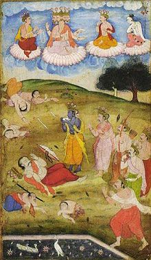 Krishna declaring the end of Mahabharata War by blowing the Conch Shell.jpg