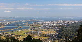 Kuwana, Mie - Kiso Three Rivers and Ise Bay from Mount Tado