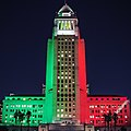 LA City Hall lit in Italian flag for victims of August 2016 Italy earthquake.jpg