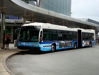 Select Bus Service - Articulated bus, used on M15 SBS route, on its south terminus.