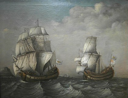 A Spanish frigate towing a British ship to Havana. Oil on canvas, c. 1770. LaFragataDeBlasDeLezoRemolcandoAlStanhopeHaci1710.jpg