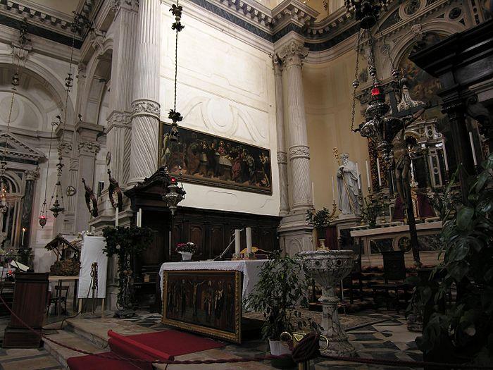 La Última Cena (Iglesia de San Marcuola, Venecia, 1547) - Tintoretto, en su lugar