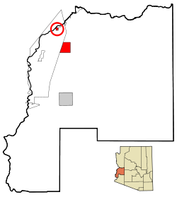 La Paz County Incorporated and Unincorporated areas Parker highlighted.svg