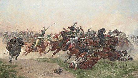 The Chasseurs a cheval of the Guard charging Austrian dragoons. La bataille de Wagram.jpg
