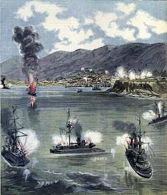 Chilean Civil War of 1891 - Picture of the rebel fleet attacking Valparaíso, published in Le Petit Journal.