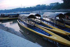 "Frontera Corozal, Chiapas - Boats called ""lanchas"" at the docks of the town"
