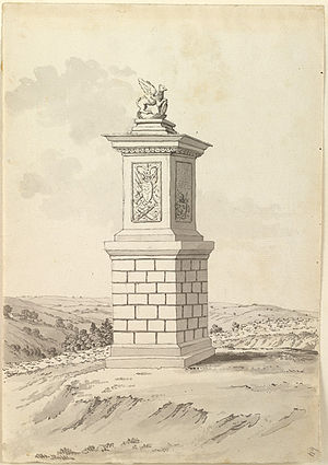 Sir Bevil Grenville's Monument - 1783 Drawing by Samuel Hieronymus Grimm, British Library, Add. MS 15547, f.64
