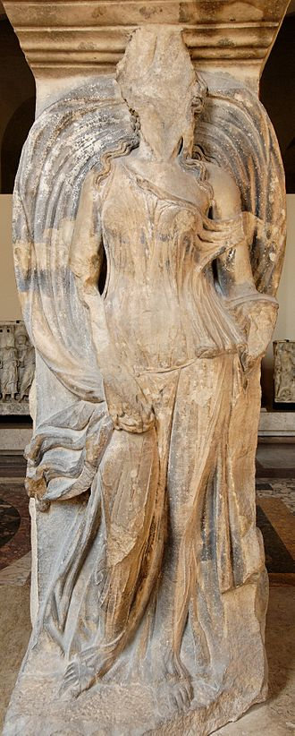 Aura (mythology) - A velificans, perhaps Aura, marble relief caryatid from the agora of Thessalonica (first half of the second century AD), Paris, Louvre MA 1393.