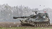 Latvian soldiers training on Austrian M109A5O.jpg