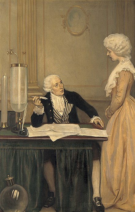 Portrait of Lavoisier explaining to his wife the result of his experiments on air by Ernest Board Lavoisier explaining to his wife the result of his experimen Wellcome V0018151.jpg