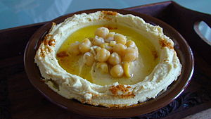 Hummus - Hummus topped with whole chickpeas and olive oil