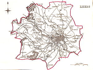 Leeds (UK Parliament constituency) - A map of the Parliamentary Borough of Leeds as created in the 1832 Reform Act