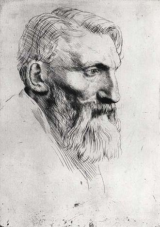 Alphonse Legros - portrait etching of Rodin by Legros