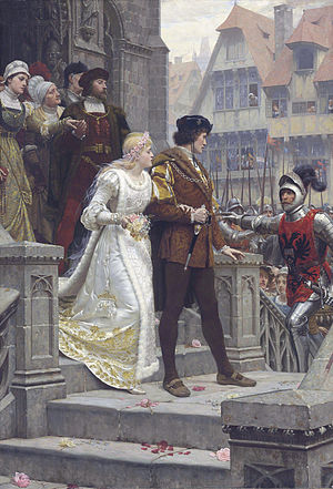 Marriage in England and Wales - An idealised medieval wedding imagined by Edmund Leighton (Call to Arms 1888)