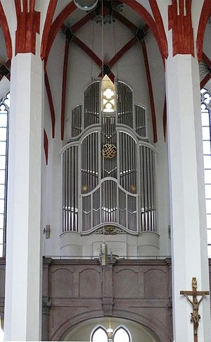 "St Matthew Passion - ""Small"" organ loft in the St. Thomas Church, that would have fitted Chorus II and Orchestra II of the St Matthew Passion in Bach's time (note: the organ on this photograph is a late 20th-century addition)"