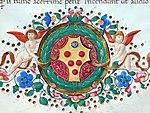 Leonardo bruni, epistole, firenze, 1425-1500 ca. (bml, pluteo52.6) 11 stemma medici.jpg