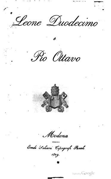 File:Leone Duodecimo e Pio Ottavo (Baraldi).djvu