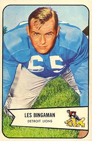 Les Bingaman - Bingaman on a 1954 Bowman football card
