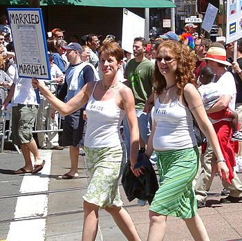 A lesbian couple married in San Francisco in 2004