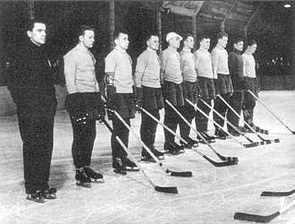 1938 Ice Hockey World Championships - Lithuania prior to their match against Romania. Lithuania won the game, 1–0.