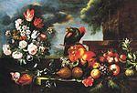 Ligozzi, Bartolomeo - Flowers, Fruit and a parrot - 1688.jpg