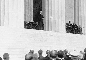 Lincoln Memorial - President Warren G. Harding speaking at the dedication, 1922