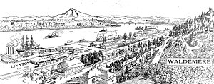 Linnton, Portland, Oregon - Image: Linnton drawing 1909