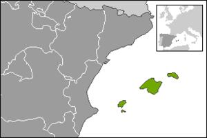 Hispania Balearica - Image: Localització de les Illes Balears