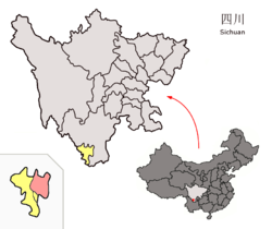 Location of Miyi County (red) within Panzhihua City (yellow) and Sichuan