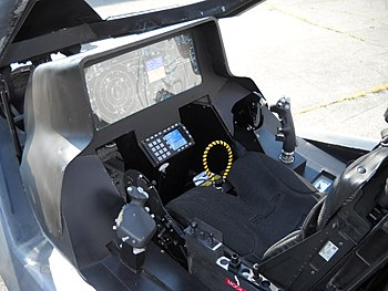 English: The cockpit and instrument panel of a...