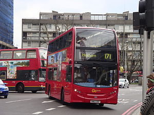 London Central E266 on Route 171, Elephant & Castle.jpg