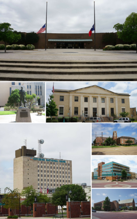 From top to bottom, left to right: Longview Public Library, Veteran's Monument, United States Post Office, Citizens National Bank, First Presbyterian Church, Petroleum Building, and First Baptist Church