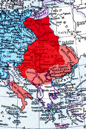 Union of Hungary and Poland - United kingdoms of Poland and Hungary (red) under Louis I