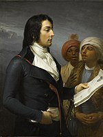 Profile painting of Louis Desaix with two young men.