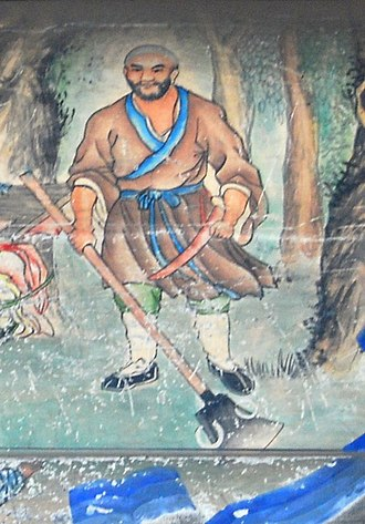 Lu Zhishen - Painted mural depiction of Lu Zhishen at the Summer Palace, 19th century.